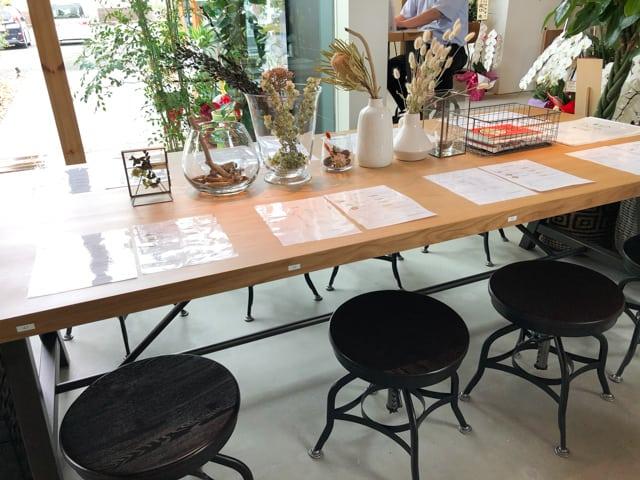 菊寿童のカフェザシェードツリーテーブル席
