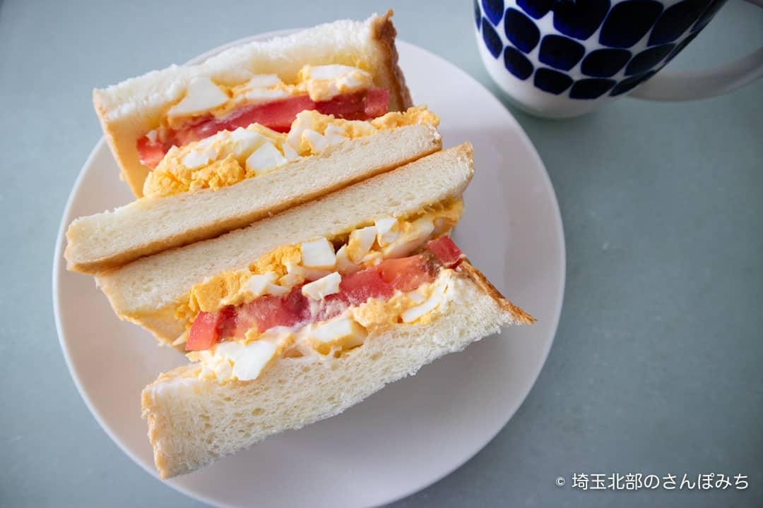 乃が美熊谷店食パンでサンドウィッチ