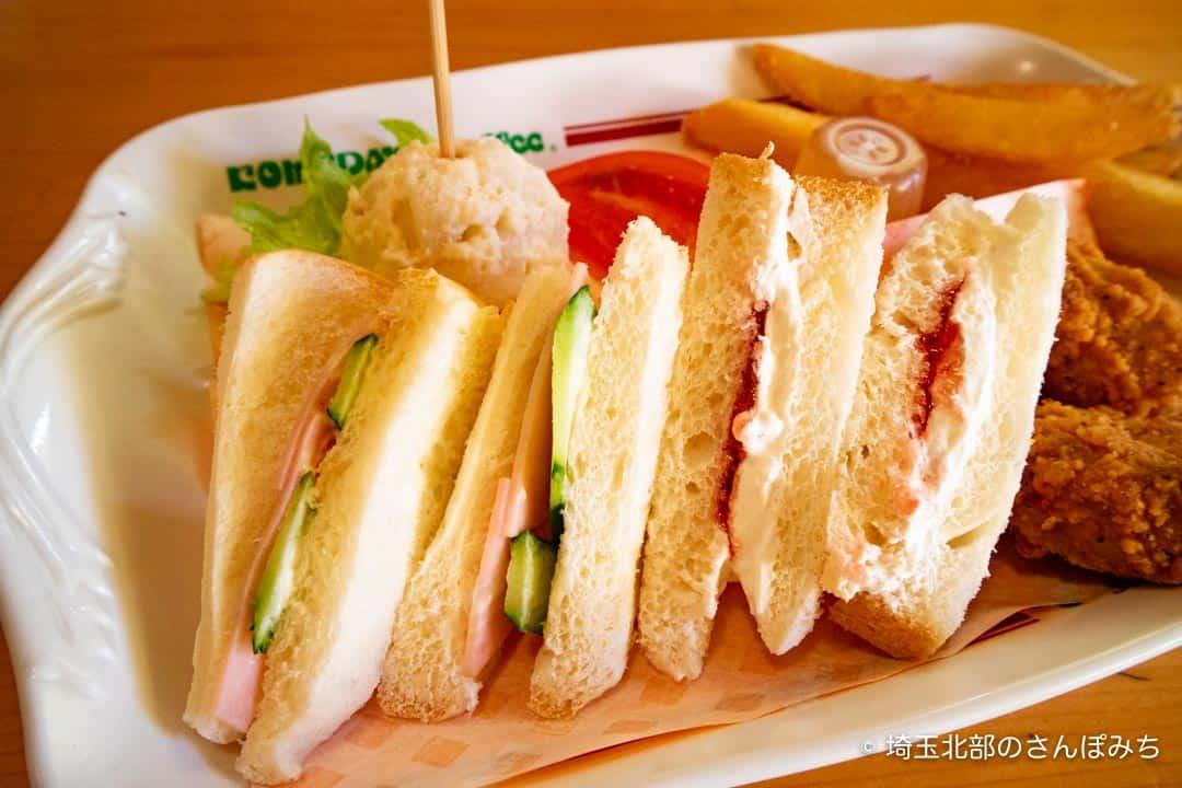 コメダ珈琲熊谷店のだいすきプレートサンドイッチ