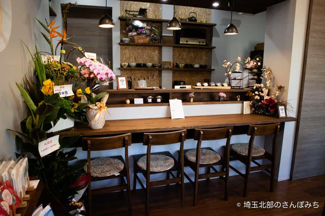 深谷・古伝餡浜岡屋カフェのカウンター