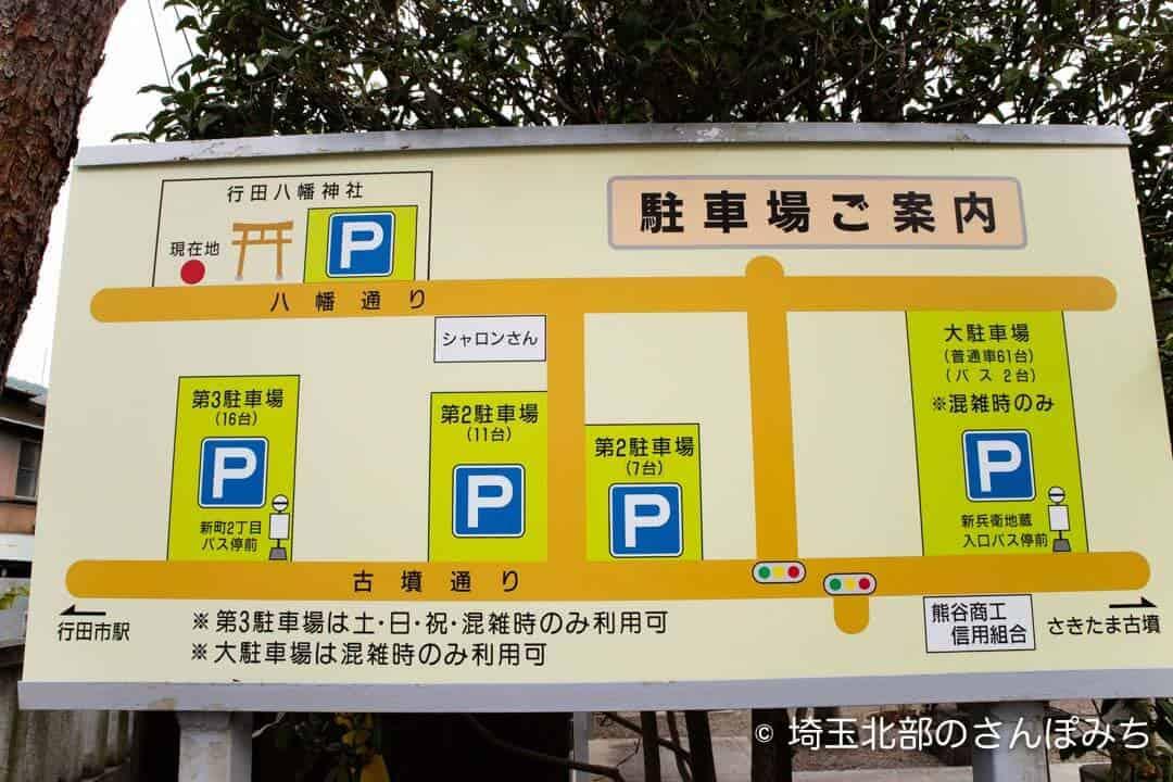 行田八幡神社の駐車場案内