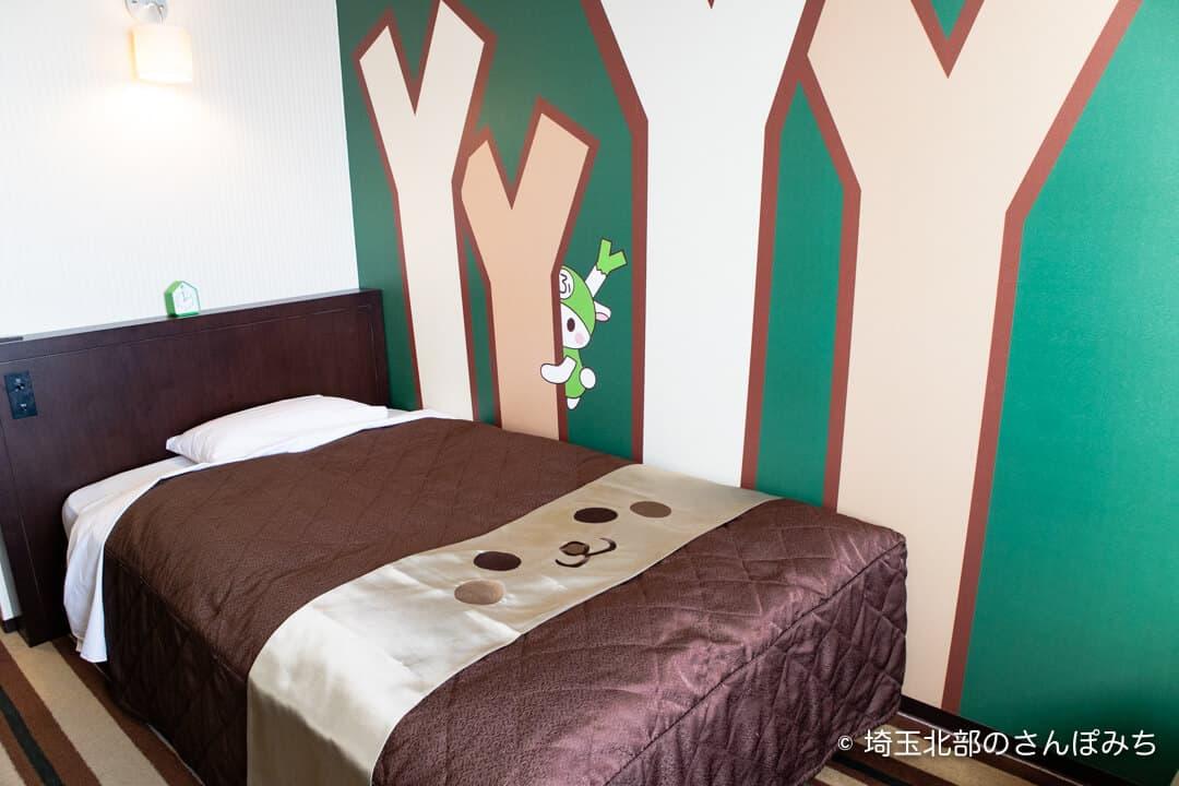 埼玉グランドホテル深谷グランドふっかちゃんルームのベッド