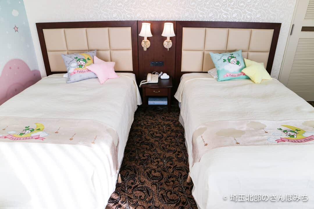 埼玉グランドホテル深谷おやすみふっかちゃんルームのベッド
