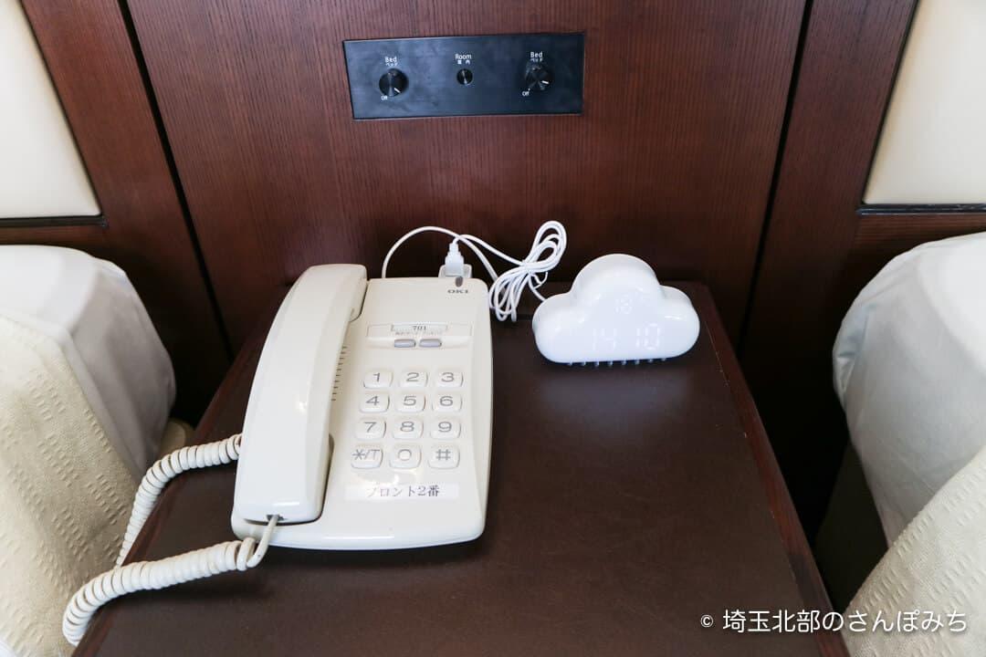 埼玉グランドホテル深谷おやすみふっかちゃんルームの時計