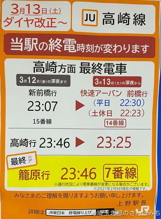 2021年ダイヤ改正(上野駅終電)