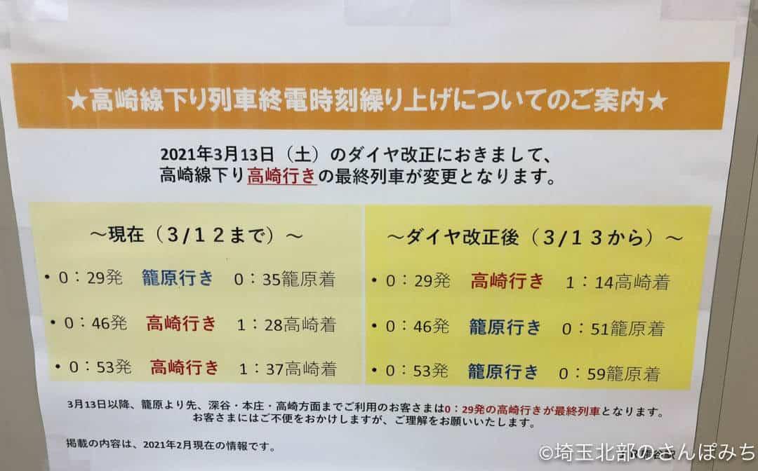 2021年ダイヤ改正(熊谷駅終電注意点)